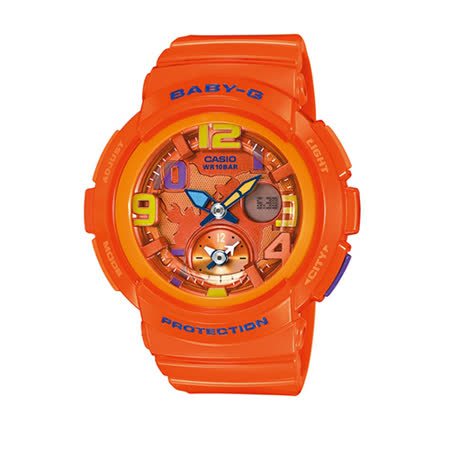 Baby-G 卡西歐環遊世界 愛旅行指針數位雙顯橡膠腕錶/42mm/ BGA-190-4B