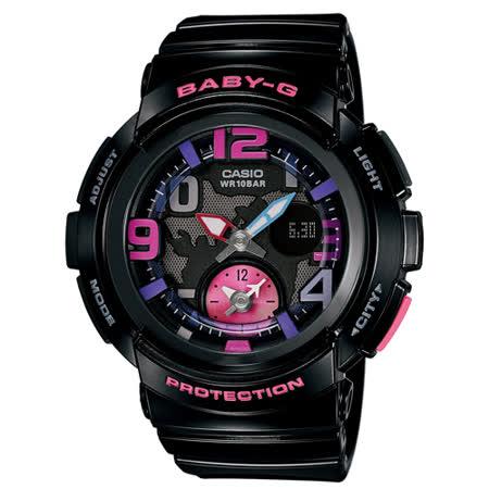 CASIO Baby-G 運動雙時區地圖時尚腕錶 廣告款-44mm/BGA-190-1BDR