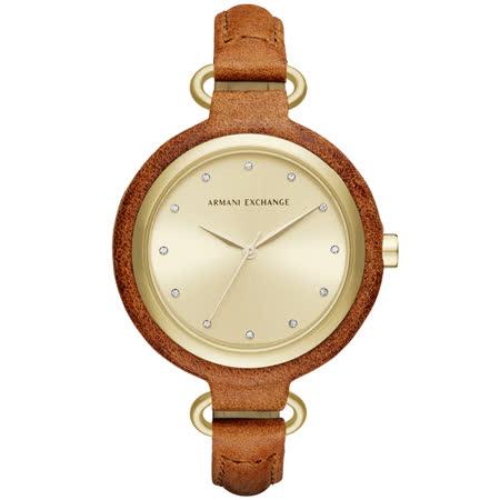 A│X Armani Exchange 氣質尤物晶鑽皮帶腕錶-金x皮帶咖啡