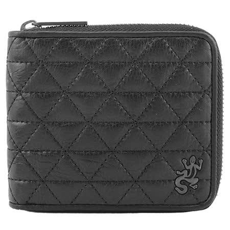 agnes b. 菱格紋蜥蜴logo拉鍊短夾(黑)