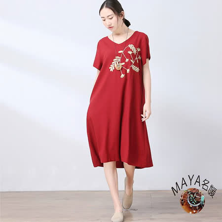 【Maya 名媛】m-2xl棉麻v領短袖中長裙繡麥穗款連衣裙-紅色