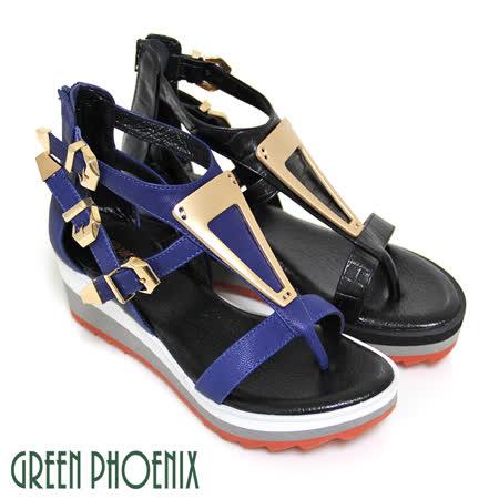 【GREEN PHOENIX】BIS-VITAL 三角金屬片山羊皮厚底夾腳羅馬涼鞋