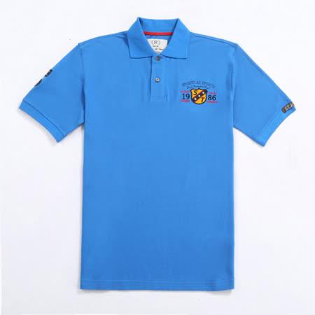 【Stoney.ax】大氣風範 繡字造型美式POLO休閒衫-藍色