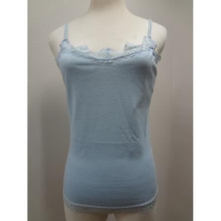 日本CIELO 現貨-點點蕾絲肩帶小背心-粉藍