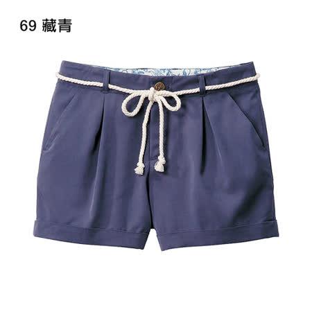 日本GU 現貨-海軍風繫帶短褲-藏青