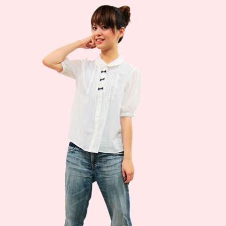 日本CIELO 現貨-蝴蝶結壓摺襯衫-白色