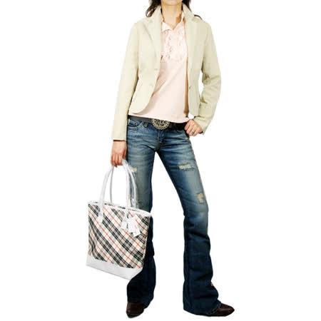 日本CIELO 現貨-側邊蕾絲抓破牛仔褲-藍色