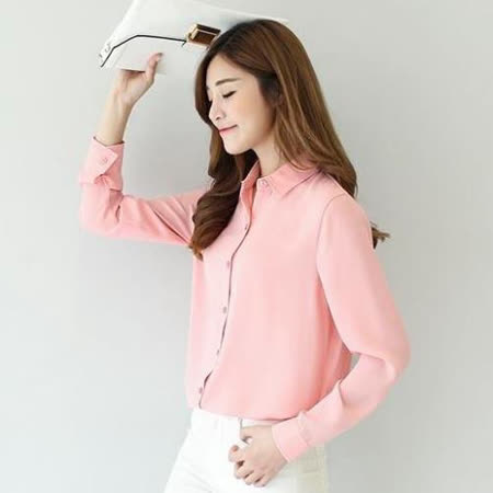 【stoney.ax】超人氣夏日OL職場多色透氣輕柔雪紡襯衫-粉色
