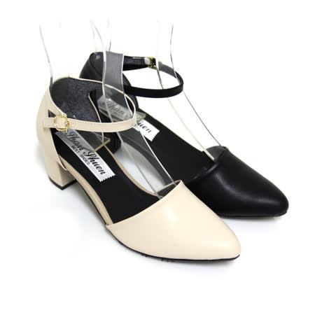 【Pretty】唯美氣質繫踝尖頭粗跟瑪莉珍鞋