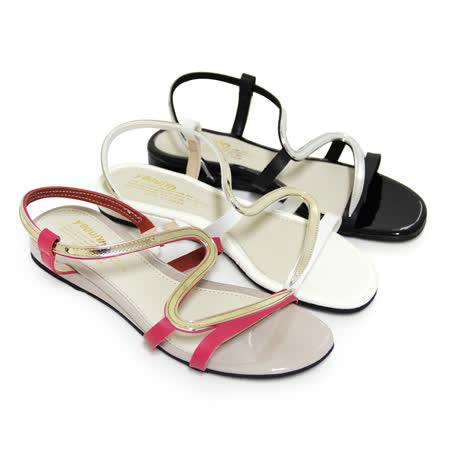 【Pretty】金屬光澤S線裸肌美感平底涼鞋