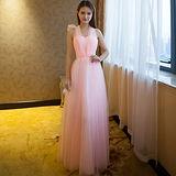 。DearBaby。女神甜美多種穿法紗質長禮服伴娘服(共四色)-預購
