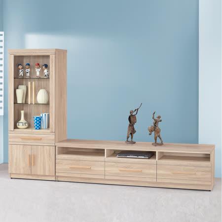 HAPPYHOEM 大展橡木色9尺L型電視櫃UZ6-221-1