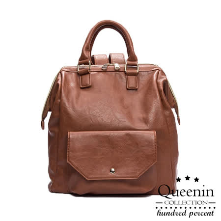 DF Queenin日韓 - 日系熱賣出遊寬口復古後背包