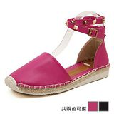 ALicE (預購)Y1187鉚釘環扣包跟平底涼鞋 (黑/玫紅)