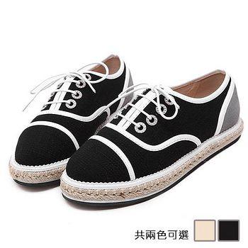 ALicE (預購)Y1191復古文藝細帶拼接休閒鞋 (黑/米白)