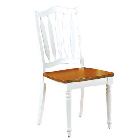 鄉村柚木白餐椅