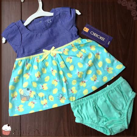 歐美純棉 優雅碎花蝴蝶結連身洋裝+屁屁褲 兩件式套裝 新生兒可穿