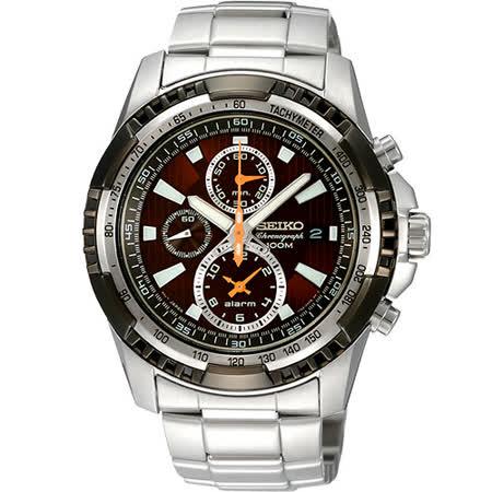 SEIKO 極限賽車手計時鬧鈴腕錶-咖啡x銀/47mm 7T62-0KK0O(SNAE03P1)