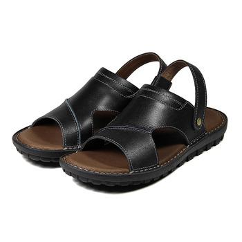 (男) BONJO 真皮接縫兩用涼鞋 黑 鞋全家福