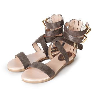 (女) ROSELIN 時尚交叉羅馬涼鞋 灰 鞋全家福