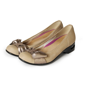 (女) ARCH CONTACT 緞面蝴蝶結氣墊女鞋 米 鞋全家福