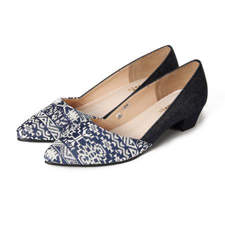 (女) CLASSIQUE GRECO 拼撞花色粗跟女鞋 藍紋 鞋全家福