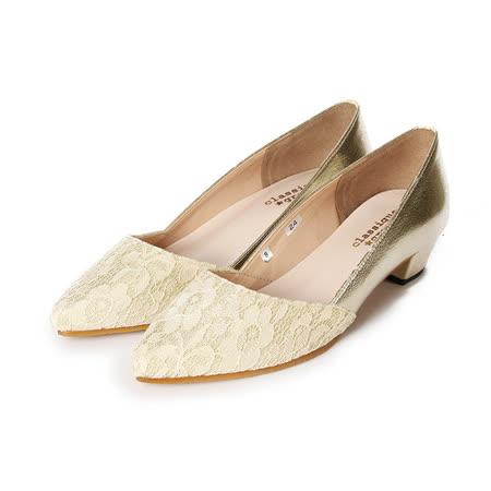 (女) CLASSIQUE GRECO 拼撞花色粗跟女鞋 米白蕾絲 鞋全家福