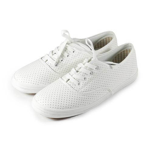 ^(女^) GIOVANNI VALENTINO 沖孔綁帶休閒鞋 白 鞋全家福