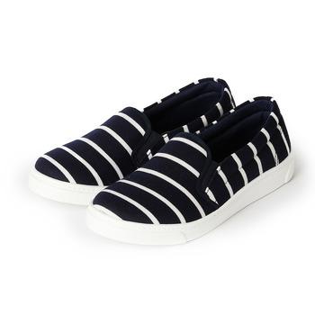 (女) GIOVANNI VALENTINO 橫紋套式休閒鞋 藍 鞋全家福
