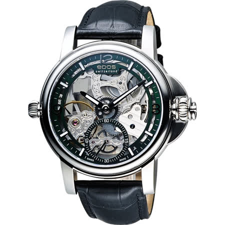 epos 巴賽爾藝術系列鏤空三次元手動上鍊機械錶-綠/45mm 3429.195.20.53.25FB