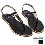 ALicE (預購)Y1148時尚羅馬平跟金屬片飾涼鞋 (黑/白)