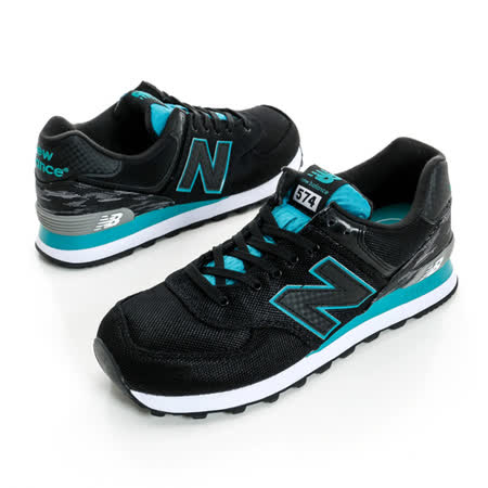New Balance (男)復古運動休閒鞋 黑白綠ML574SIB
