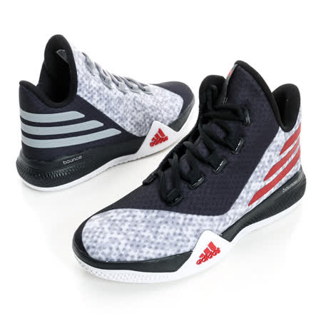 Adidas童/女籃球鞋 黑灰紅AQ8510