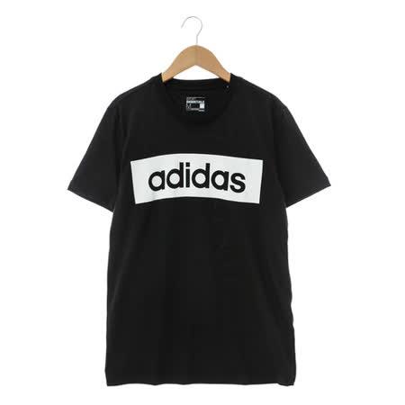 Adidas 男LOGO圓領T(短)黑 AJ6077