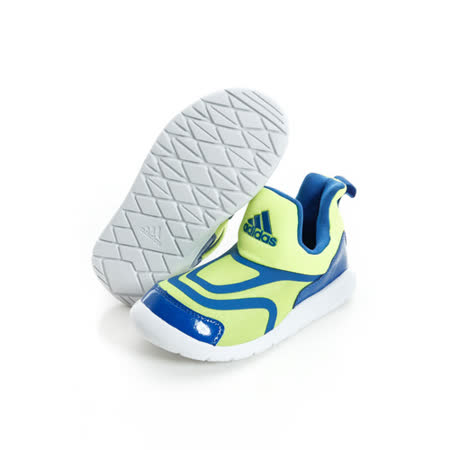 ADIDAS童休閒鞋 藍螢光黃-AQ5109