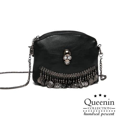 【好物推薦】gohappy線上購物DF Queenin日韓 - 韓版骷顱鑽仿皮款隨身小包哪裡買板橋 遠東 fe21
