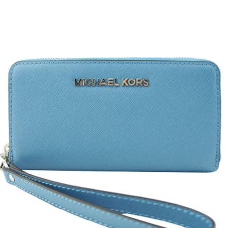 MICHAEL KORS 銀色LOGO防刮皮革萬用皮夾手機包(天空藍)