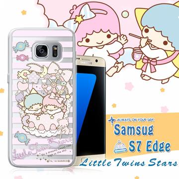 三麗鷗授權正版 雙子星仙子KiKiLaLa  Samsung Galaxy S7 edge 透明軟式保護套 手機殼(花藍)