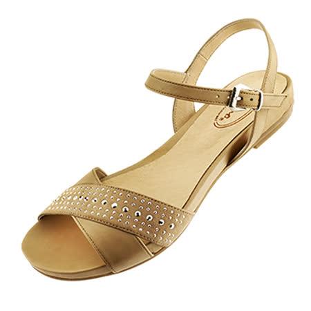 【Kimo德國品牌手工氣墊鞋】獨家設計款珠飾牛反毛平底涼鞋(氣質米D5416SF006020)質感牛皮‧止滑吸震大底‧平底涼鞋