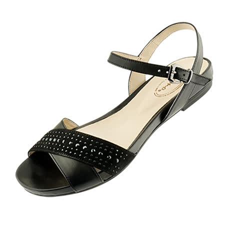 【Kimo德國品牌手工氣墊鞋】獨家設計款珠飾牛反毛平底涼鞋(時髦黑D5416SF006023)質感牛皮‧止滑吸震大底‧平底涼鞋