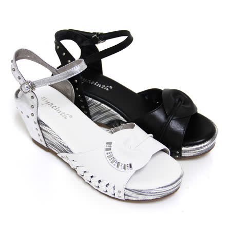 【GREEN PHOENIX】水鑽金屬釘扣編織全真皮楔型涼鞋
