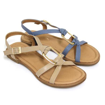 【GREEN PHOENIX】交叉扭轉方形金屬全真皮平底涼鞋