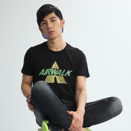 AIRWALK(男)- A字迷彩潮流棉圓領T恤 - 黑
