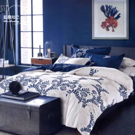 【韋恩寢具】純棉夢緣花語枕套床包組-單人/藍顏知己