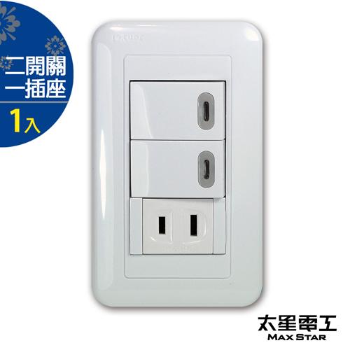 【太星電工】大面板-雙開關/單插座組 A136D.