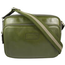 BALLY 經典雙色織帶小牛皮雙層斜背包.墨綠