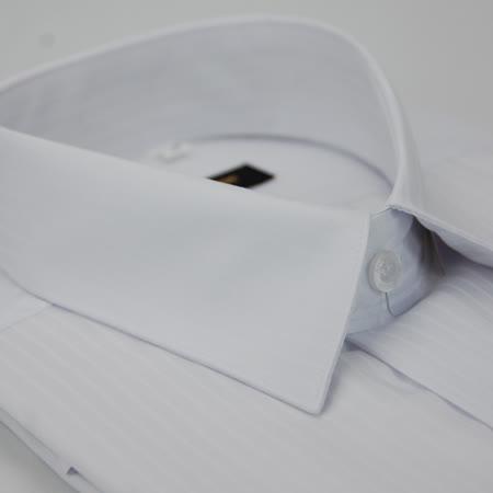 【金安德森】白色寬直條紋類絲質窄版短袖襯衫
