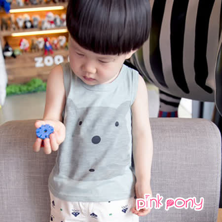 【Pink Pony】卡通小熊純棉背心_綠