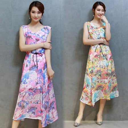 【韓國K.W.】夏季修身顯瘦印花無袖洋裝