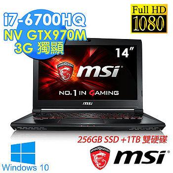 MSI微星 GS40 6QE-208TW 輕14吋《1TB+256G SSD》i7-6700HQ GTX970-3G獨顯 FHD Win10電競筆電
